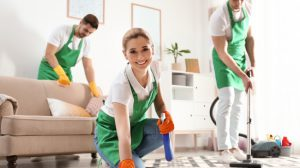 team of professionals sprucing up a residential property